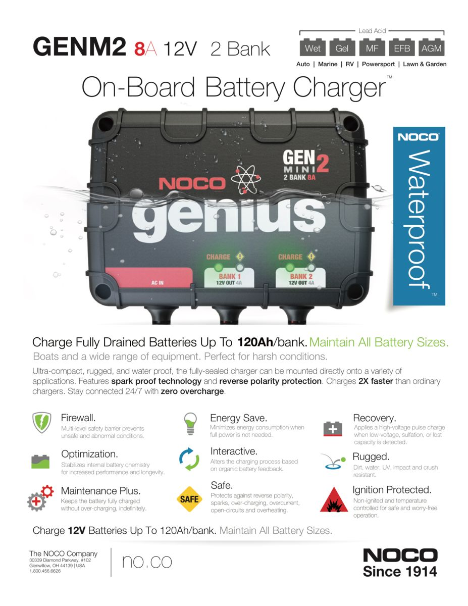 Noco Genius On Board Battery Chargers Midstate Desulphation Progress Monitor Download Pdf